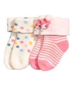 2 paar badstof sokken