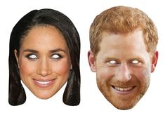 Prince Harry and Meghan Markle Card Party Face Masks 2 Pack. Free UK delivery and worldwide shipping from Starstills.