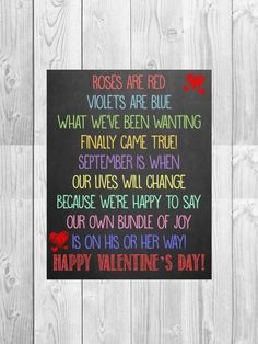 Pregnancy Announcement Chalkboard Photo Prop // Roses are Red Poem // (16x20): Digital File - Personalized