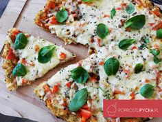 Pizza z kalafiora Vegetable Pizza, Food Porn, Vegetarian, Bread, Vegetables, Cooking, Health, Fitness, Recipes