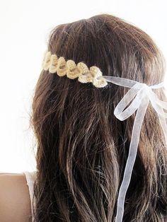 crochet headband hair band beige headband Boho by selenayy on Etsy