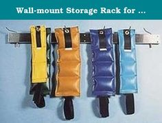 """Wall-mount Storage Rack for Cuff, Ankle & Wrist Weights, Double. The RiversEdge Products Model WRS5885 Cuff Weight Storage Rack is made from attractive, polished stainless steel for an extra-long life. The rack has holes placed on 16"""" centers to match most wall-stud spacing. For smaller capacity and a lower price, we have an Amazon item B00382GDJO that includes (1) bases and (6) hooks. Thank you for buying American-made products. ."""