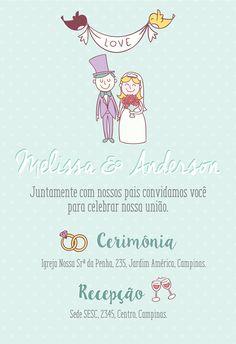 Convite de casamento com noivinhos. #noivo #casamento #convitedecasamento