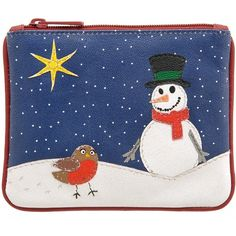 Harness Snowman Zip Top Applique Leather Coin Purse AW12 Autumn Winter 2012 - £12.00 available from www.kubi.co.uk - Christmas snowman scene with beautiful little Robin bird makes the perfect Christmas presents and unique and unusual gifts for this festive season.