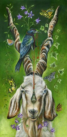 Another power totem artistry that reminds me to keep working mio mojo.Capricorn goat representation, nature, butterflies and crow. ENTRANCED BY JANIE OLSEN Art And Illustration, Illustrations, Capricorn Goat, Capricorn Rising, Frida Art, Power Animal, Animal Totems, Animal Paintings, Goat Paintings