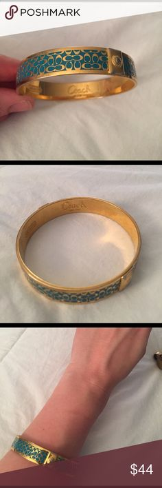 Coach turquoise and gold bangle Great condition! Great gift for friend or girlfriend and so cute layered with other bracelets ☺️ Coach Jewelry Bracelets