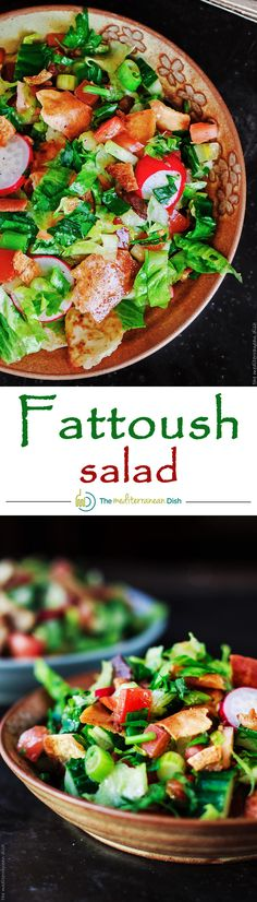 This Fattoush Salad recipe is a must try! A super simple Middle Eastern chopped salad with lots of herbs and pita chips for croutons! Dressed in a zesty lime vinaigrette. #Vegan. From The Mediterranean Dish. http://www.themediterraneandish.com/fattoush-salad/