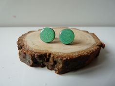 Hand painted green post earrings, Wooden jewelry, wooden earrings, wood post earrings, silver ear posts , gift for her, green earrings Jewelry  Earrings  Stud Earrings  wooden earrings  earrings  wood earrings  studs  wood studs  round studs Hand painted wood  sterling silver post  green earrings  hand painted jewelry  gift for her  resin studs  stud earrings