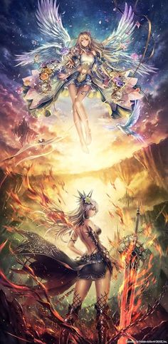 Heaven & Hell Wallpaper...By Artist Yoshiro Ambe...