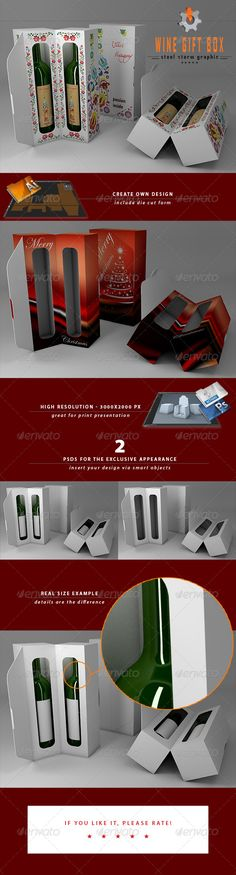 This is not just a regular box template! Its a 3d wine gift box visual generator with die cut template! 3D Wine Gift Box visualiza