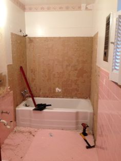 Q How Do I Remove The Adhesive From 1950 S Pink Wall Tiles Bathroom Ideas Diy Home Maintenance Repairs To Tiling