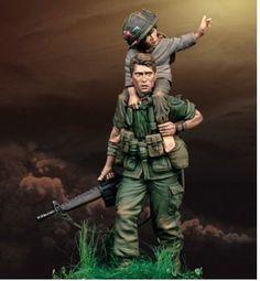 75mm unpainted unassembled mini toy model miniature figure kit, soldier and kid #Unbranded