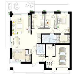 Projekt domu Zacisze 6 T 129,59 m² - Domowe Klimaty Floor Plans, Floor Plan Drawing, House Floor Plans