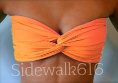 Blaze Orange Bandeau Top Spandex Bandeau Bikini by Sidewalk616, $22.00