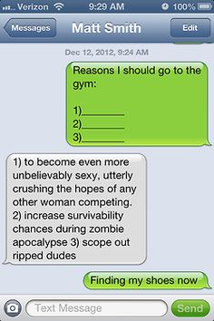 A boyfriend gives a girlfriend 3 good reasons to go to the gym ;)