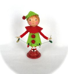 Clothespin Doll Christmas Elf Red and Lime by cottoncandydolls, $30.00