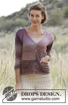 """Jacket with stripes, V-neck and pockets in """"Delight"""". Free #knitting pattern"""