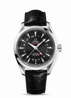 Montres OMEGA : Seamaster Aqua Terra 150 M GMT - Acier sur bracelet cuir - 231.13.43.22.01.001