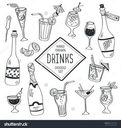 Drinks doodle set. Hand drawn cocktails icons isolated on white background. Doodle beverages collection. Bottles, glass, cocktails. Water, wine and juice. Drinks collection for coloring books.