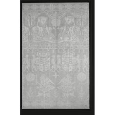 Napkin, Flanders, c. 1570-1600. Linen damask. With a portrait of Queen Elizabeth and the arms of Anne Boleyn. Note design is reversed on one half. A spectacular table cloth with the same portrait of the queen was ordered by Sir Thomas Gresham, founder of the Royal Exchange. It was used at a banquet attended by the Queen to mark the opening of the Royal Exchange in 1571, at the Guildhall.