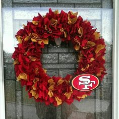 San Francisco 49ers Wreath  https://www.etsy.com/listing/227370510/san-francisco-49ers-wreath