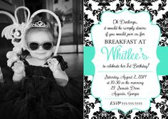 Breakfast at Tiffany's 1st Birthday Party Invitation - Custom Printable Digital File - Black White Tiffany Blue - Party Ideas - Audrey Hepburn - Tiffany & Co. - Elegant - Sweet 16 - Bridal Shower Invitation - Card