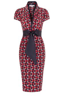 Navy Blue Pink and Cosmetic Nude vintage 1940's inspired silk tea dress with fun polka dot print. Print inspired by a beautiful vintage vanity case from America.