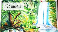 Waterfall painting in watercolors on paper (video tutorial) Watercolor Art Landscape, Watercolor Art Lessons, Watercolor Art Diy, Watercolor Art Paintings, Watercolors, Art Nouveau, Art Deco, Tattoo Creative, Paper Video