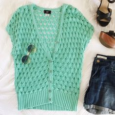 saleTurquoise Crochet Top Cute turquoise crochet top. Button down. Great color for spring/summer! Tops Button Down Shirts