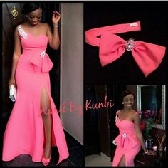 2018 Hot Pink Mermaid Long Formal Gown For Women Vestidos One Shoulder Side Split Party Prom Custom Made bridesmaid dresses African Bridesmaid Dresses, Mermaid Bridesmaid Dresses, Latest African Fashion Dresses, African Dresses For Women, African Attire, Dinner Gowns, Lace Dress Styles, African Traditional Dresses, Classy Dress
