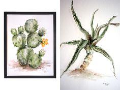 Watercolor paintings of succulents and cacti – www.craftifair.com