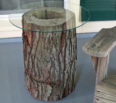 tree log/stump idea. Maybe use our leftover granite pieces.