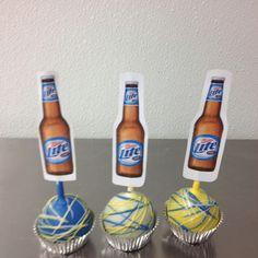 Miller Lite cake pops! Miller Lite Cake, 60th Birthday, Birthday Ideas, Recipe Using, Cake Pops, Cake Ideas, Guy, Beer, Party Ideas