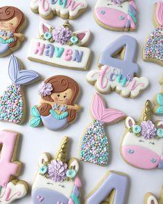 """Maricarmen Palacio 🇲🇽🇱🇷 on Instagram: """"Mermaids and Unicorns 💕 . . . . . . . . . . #cachitodecielopdx #cookies #decoratedcookies #cookiesofinstagram #instacookies #instafood…"""" Best Sugar Cookies, Fancy Cookies, Cute Cookies, Royal Icing Cookies, Cupcake Cookies, Cupcakes, Mermaid Cookies, Unicorn Cookies, Cookie Factory"""