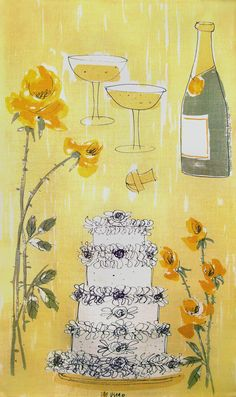 One of the superstars of my Vera Neumann collection: Wedding Cake with Yellow Roses Tea Towel