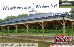 "Weathervane Wednesday!  (1) 48"" Cupola with Windows & Flashing (1) 48"" Weathervane  Building Dimensions: 30' W x 60' L x 10' H - Pavilion (ID# 086) Hip Roof 30' Scissor Trusses, 4' on Center, 4/12 Pitch  Colors: Siding Color: Brite White Roofing Color: Ocean Blue Trim Color: Ocean Blue  More Details: http://pioneerpolebuildings.com/portfolio/project/30-w-x-60-l-x-10-h-id-086-total-cost-contact-us  #WeathervaneWednesday #PioneerPoleBuilding #Weathervane #PPB"