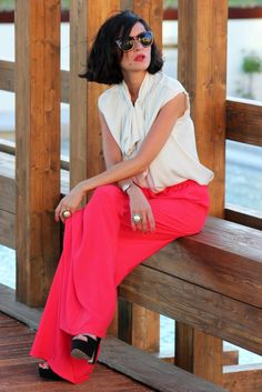 Coral ( Sunglasses & Silk Tanks ), Romantic colors, summer look, love the hair-style!
