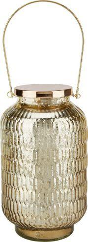 Best LED Windlicht aus Metall und Glas in der Farbe Gold D H