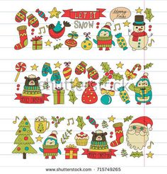 Christmas element in doodle kids drawing style. Christmas Doodles, Retro Christmas, Christmas Time, Xmas Drawing, Drawing For Kids, Tree Illustration, Pattern Illustration, Doodles Kawaii, Christmas Village Sets