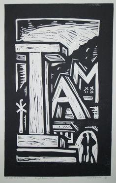 Nigel Brown, I Am Together 4/30 (2000). Linocut, 755 x 388 mm POA