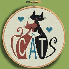 THREE MOD CATS Modern Counted Cross Stitch by EccentricAvenue