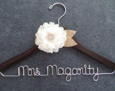 RUSTIC Wedding Hanger, Burlap and Lace Hanger, Ivory Flower, Mrs Hanger, Custom Bride Hanger, Last Name Hanger, Wedding Dress Hanger