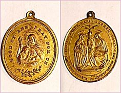 Signed Antique Holy Medal Saint Anne Joseph Virgin Mary (Image1)Antique Large medal signed F. KOCH featuring the Holy family on one side: St. Joseph, Mother Mary, Christ Child Jesus & The Holy Spirit (dove). The other side features Good Saint Ann and the child Mary.  1.1/2 inch long, large size perfect for a man