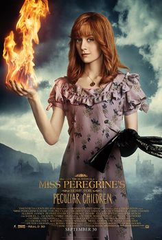Lauren McCrostie as Olive with her fire power from Miss Peregrine's Home For Peculiar Children. Saved from Fox Movies.