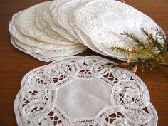 White Lace Doilies Vintage Battenburg Lace by RollingHillsVintage, $7.50