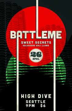 Battleme, Sweet Secrets and Salvadore Dali Llama at the High Dive in Fremont, Seattle Band Posters, Movie Posters, Dali, Fremont Seattle, The Secret, Sweet, Candy, Film Poster, Popcorn Posters