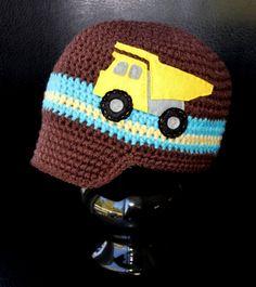 Dump Truck Visor Hat - Brown, Blue and Yellow  Felt Applique Crochet Hat. $28.00, via Etsy.