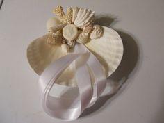 Coral Sunshine Seashell Ring Bearer Pillow for the Destination or Beach Wedding