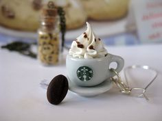 Starbucks Coffee Bean Earrings _ Miniature Food _ Polymer clay _ Foodie Gift by MarisAlley on Etsy Starbucks Coffee Beans, Coffee Cream, Clay Food, Ceramic Cups, Miniature Food, Cookie Recipes, Coffee Cups, Polymer Clay, Miniatures