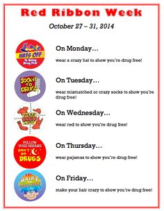 Ms. Sepp's Counselor Corner: Red Ribbon Week Oct 27-31 Elementary School Counseling, School Counselor, School Social Work, School Fun, Elementary Schools, School Stuff, Respect Activities, Counseling Activities, Drug Free Week